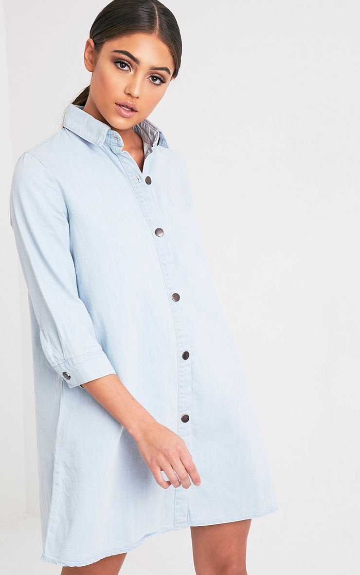 Marriet Super Light Wash Button Through Denim Shirt Dress