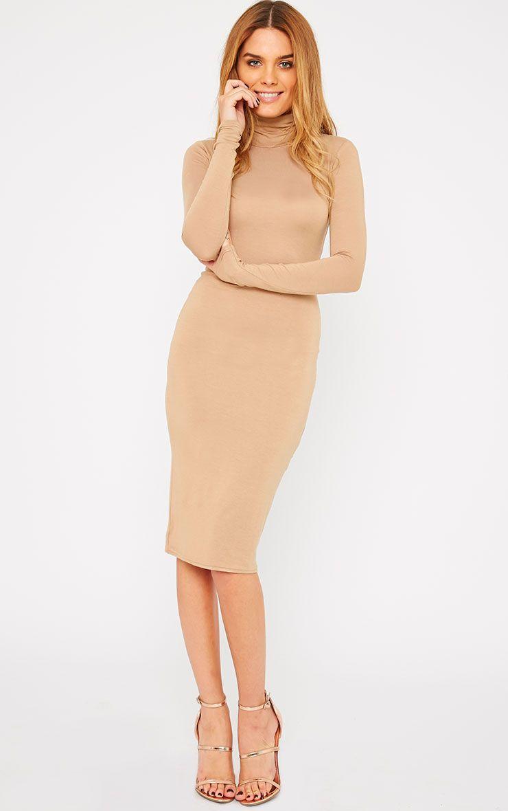 Basic Camel Roll Neck Midi Dress 1