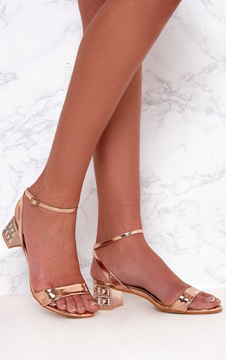 Rose Gold Low Block Single Strap Heels