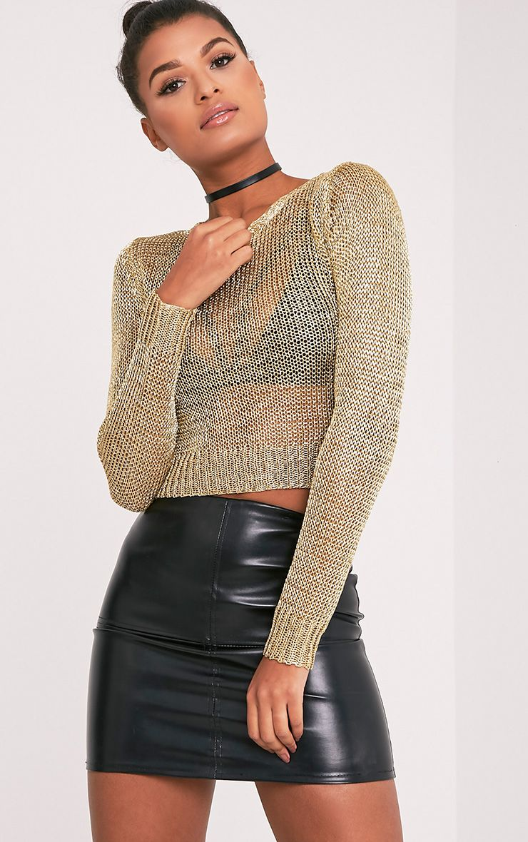 Malala Gold Metallic Knitted Crop Jumper