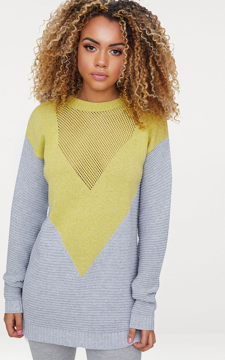Grey Marl Colour Block Open Weave Jumper
