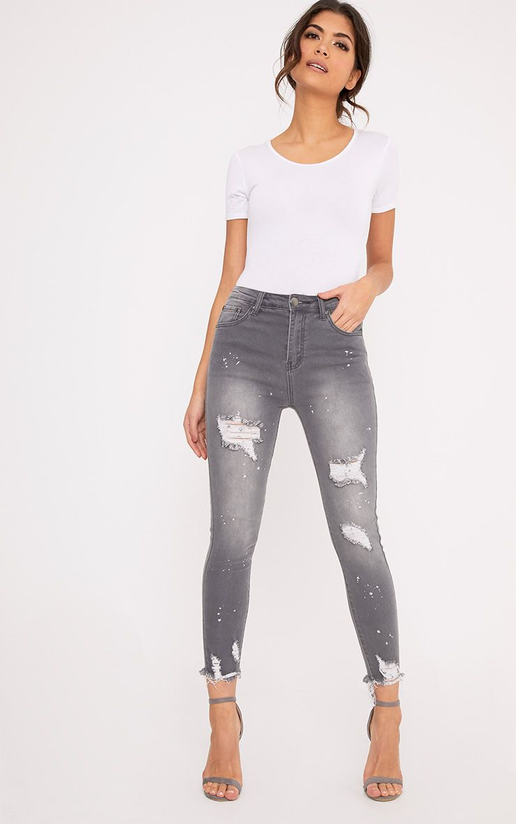 Grey Bleach Splatter Distress High Waisted Skinny Jean