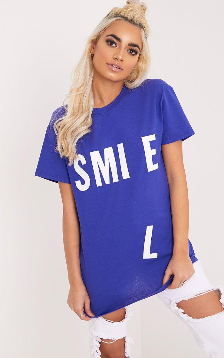 SMILE Slogan Cobalt Printed Back T Shirt