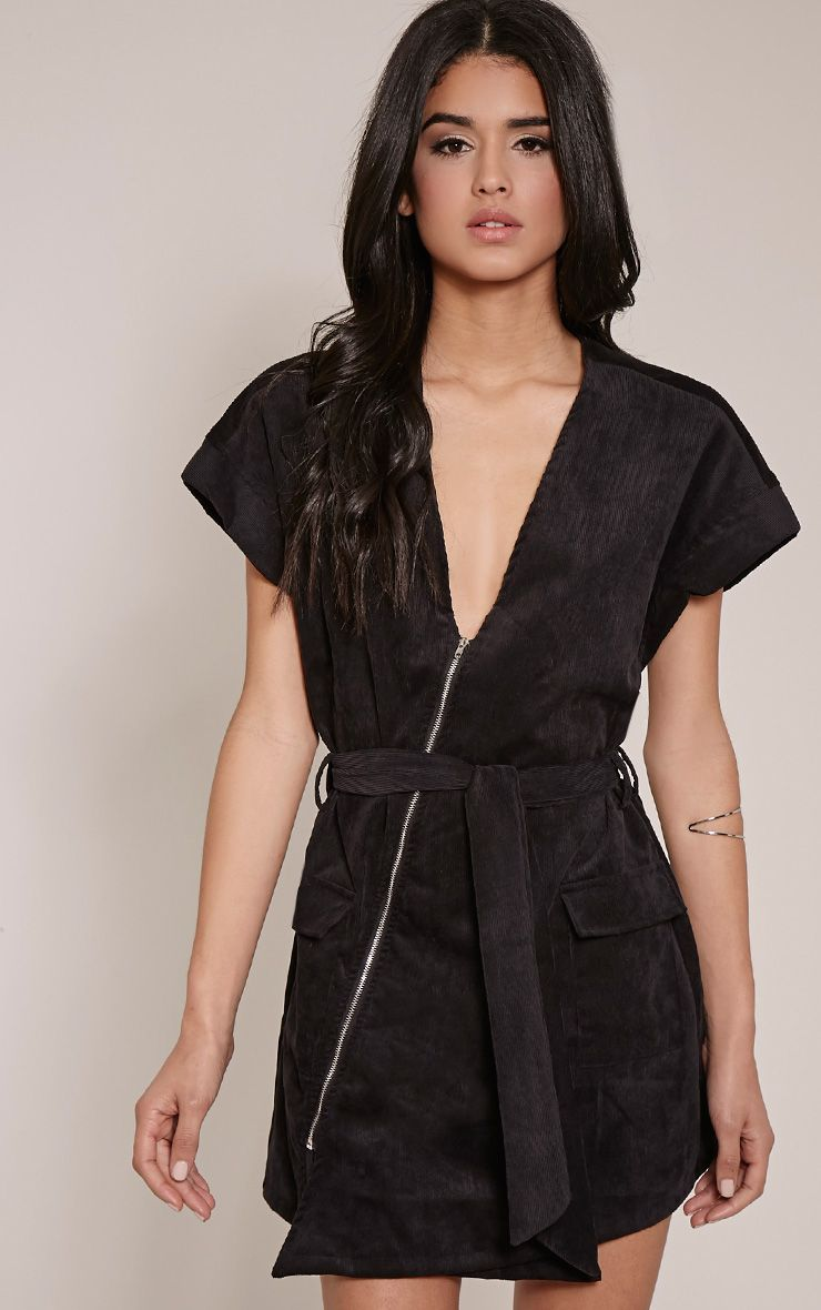 Tammie Black Zip Front Tie Waist Mini Dress 1