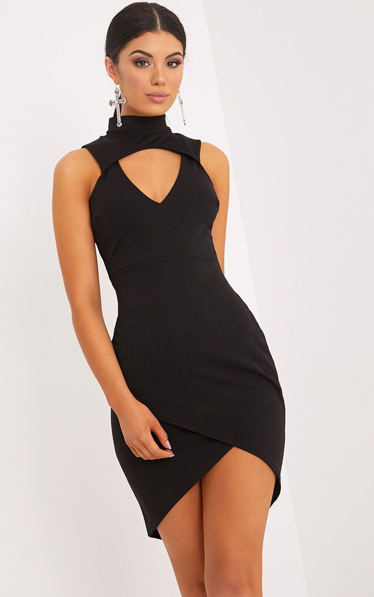 Hallee Black High Neck Cut Out Midi Dress