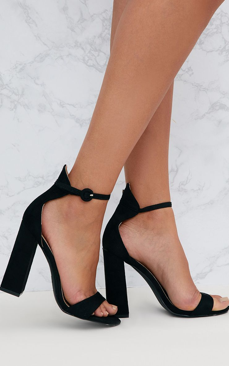 a4092c37ddb Black Faux Suede Block High Heeled Sandals