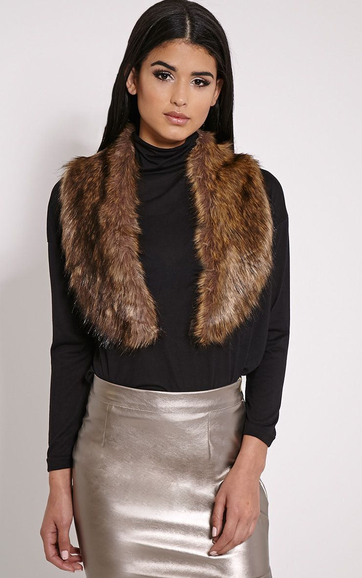 Kira Brown Faux Fur Collar Brown