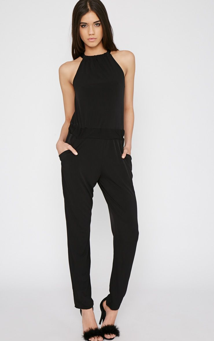Christine Black Ruched Neck Jumpsuit 1