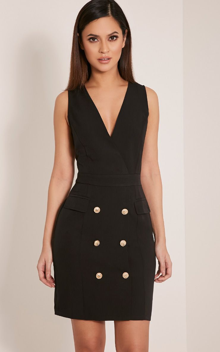 Keera Black Button Detail Blazer Dress 1