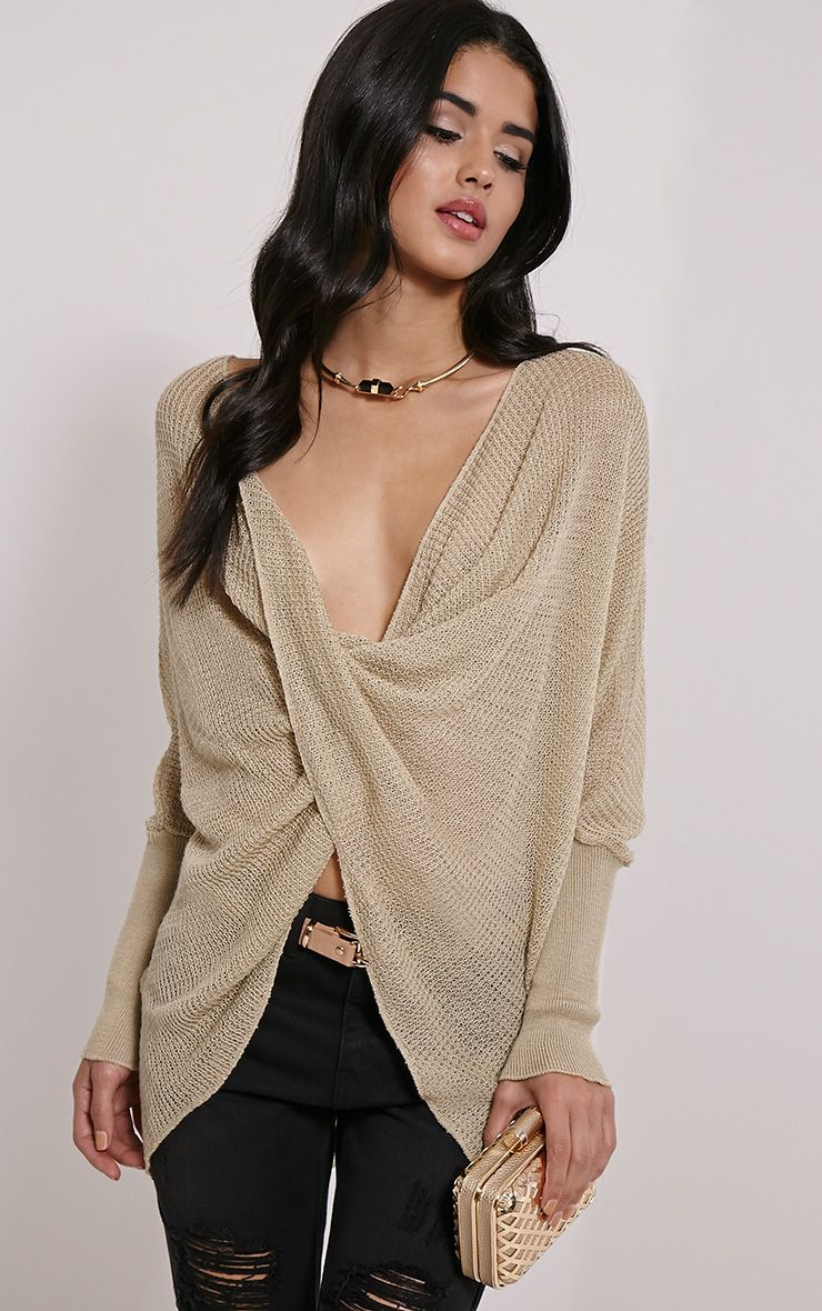 Lynix Beige Twist Front Knitted Top 1