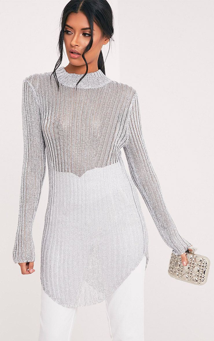 Haisley Metallic Silver Knitted Curved Hem Sheer High Neck Jumper