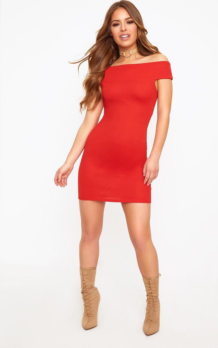 petite robe moulante bardot rouge petite. Black Bedroom Furniture Sets. Home Design Ideas