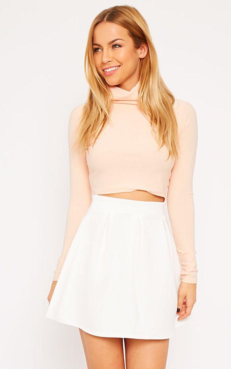 Astrid Cream Pleated Scuba Skater Skirt 1