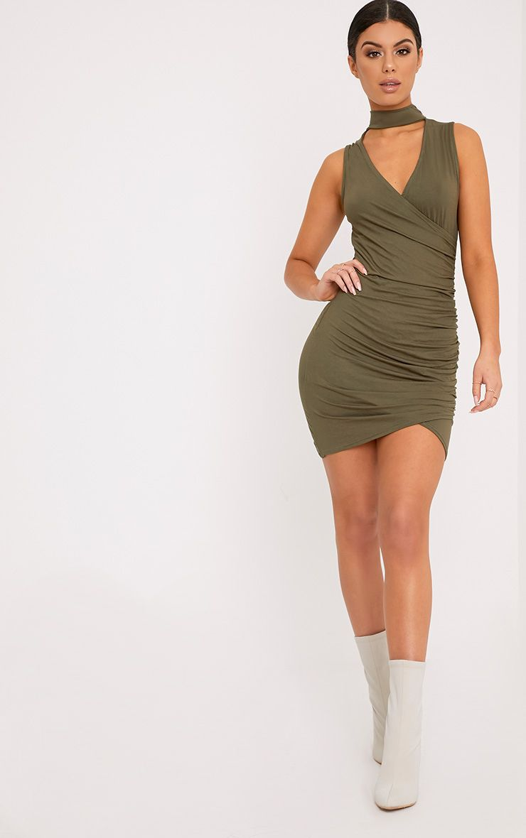 Amaris Khaki Choker Detail Ruched Bodycon Dress