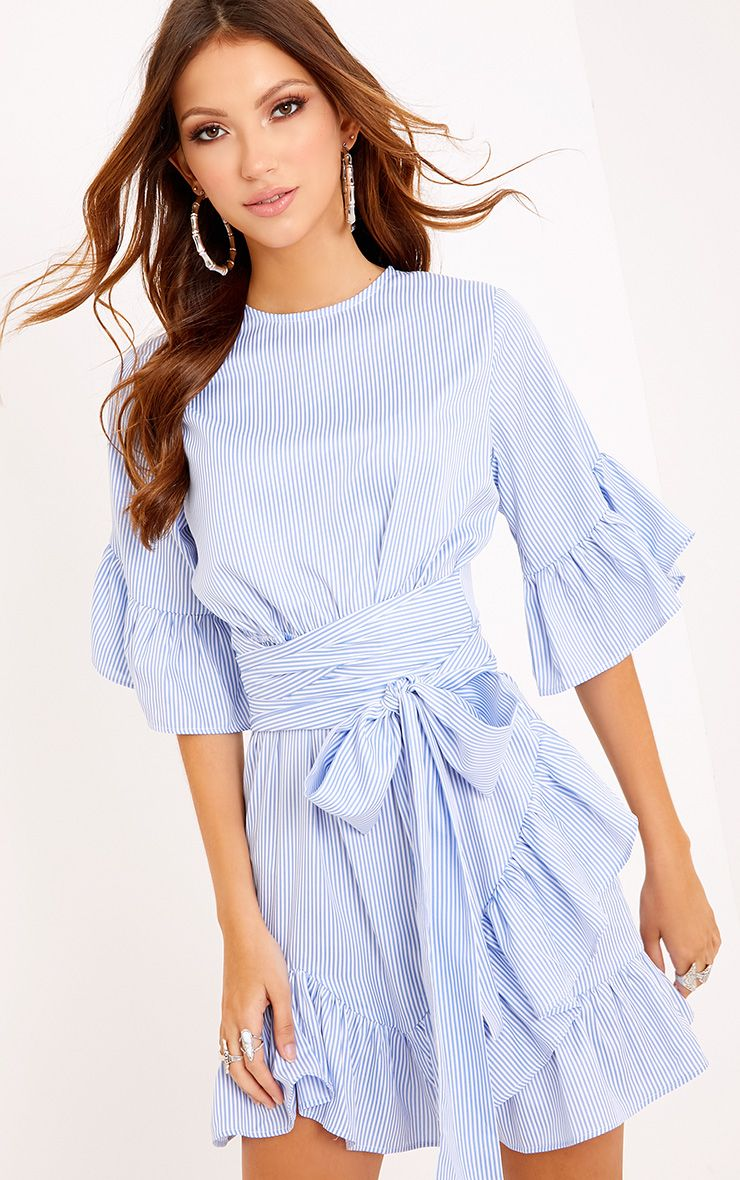 Aaliyah Blue Pinstripe Frill Detail Mini Dress