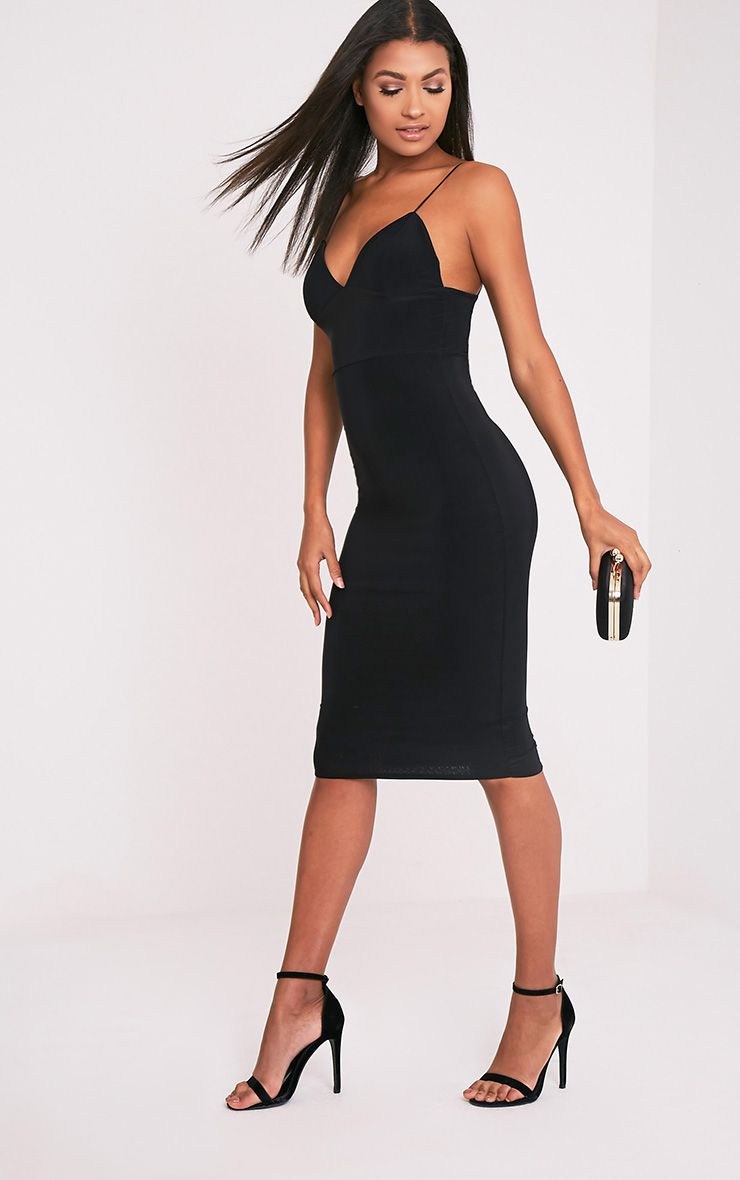 Black Second Skin Slinky Strappy Midi Dress Pretty Little Thing Cheap Inexpensive Best For Sale Bulk Designs Outlet Nicekicks Manchester Online 1E15h7