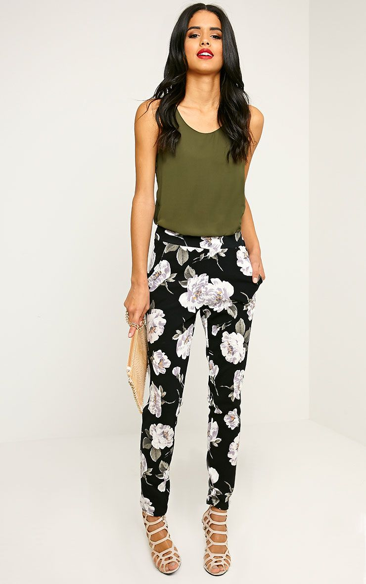 Avril Ivory Floral Printed Trousers 1