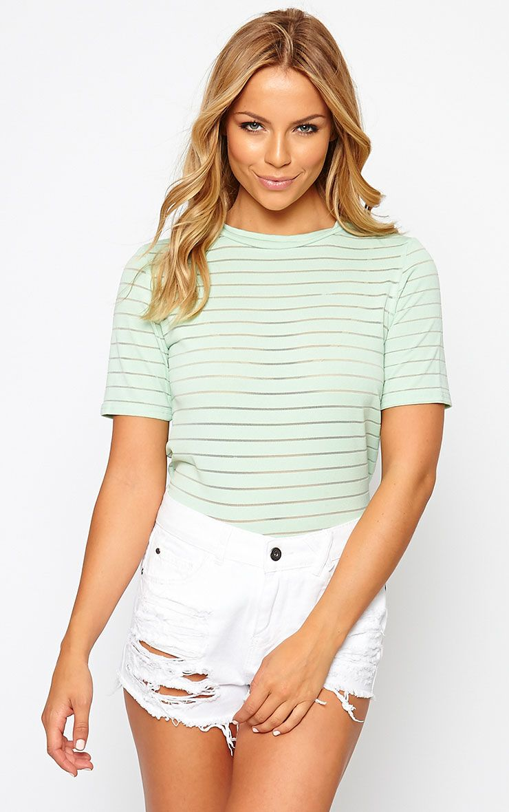 Elodie Mint Stripe Burnout T-Shirt 1