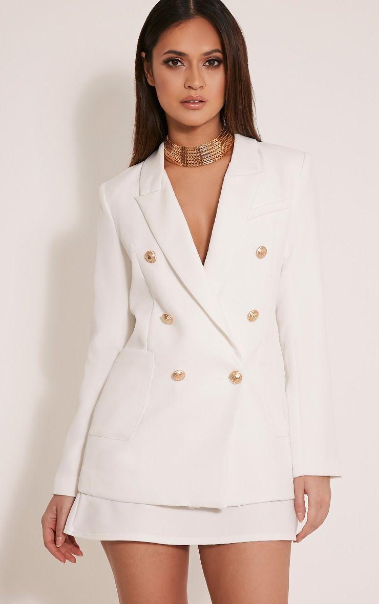 Pari White Double Breasted Military Style Blazer