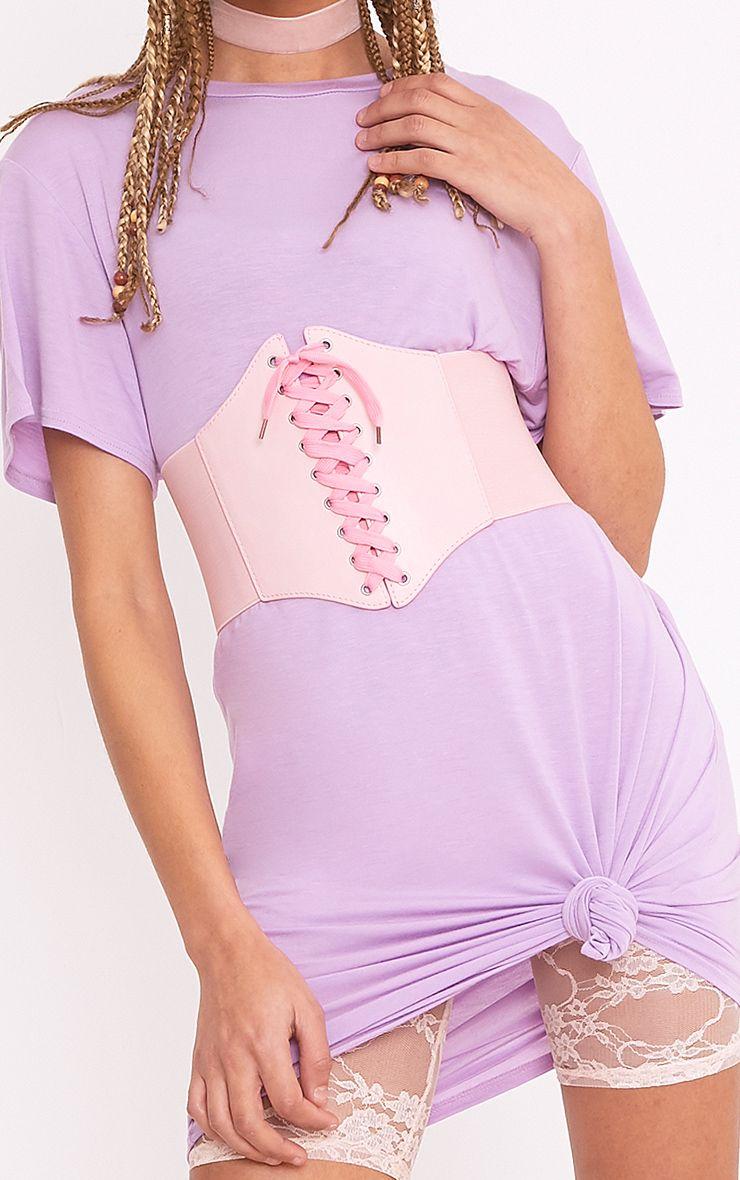 Ola Pink Lace Up Corset Belt