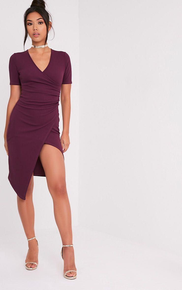 Ivie robe midi cache-cœur aubergine à manches courtes 5