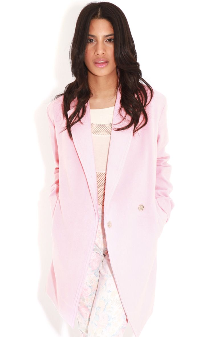 Taylor Pink Wool Cross Over Boyfriend Coat 1