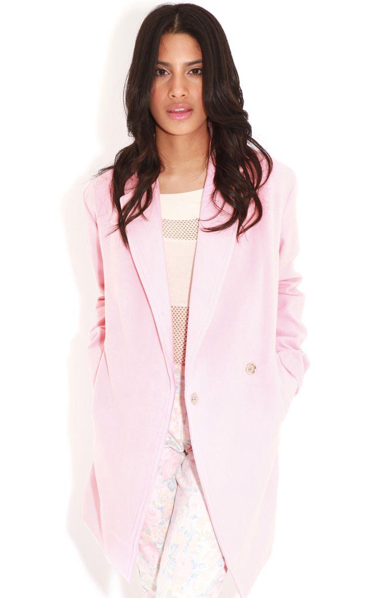 Taylor Pink Wool Cross Over Boyfriend Coat 1