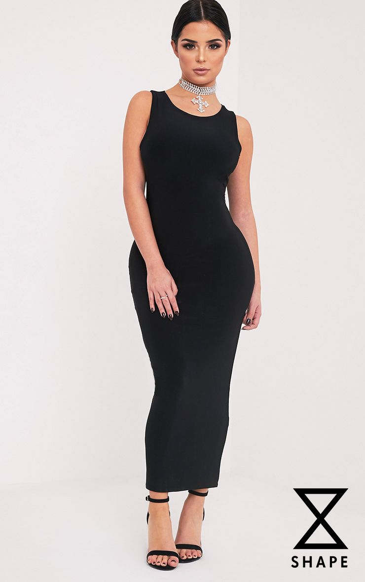 Shape Adelphe Black Crew Neck Slinky Calf Length Dress