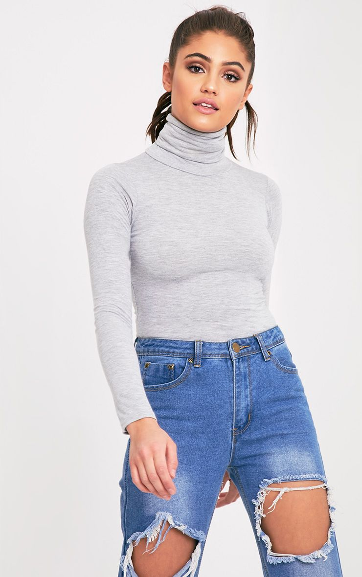 Basic Grey Long Sleeve Roll Neck Top 1
