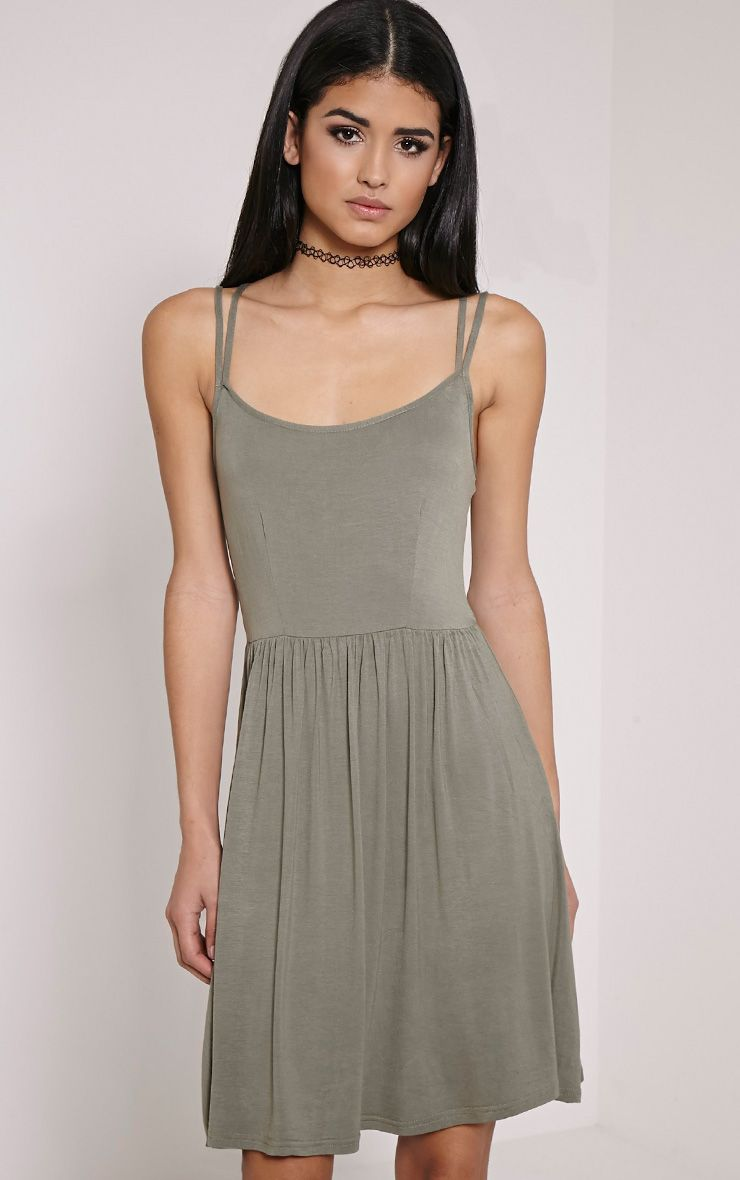Basic Khaki Cross Back Skater Dress 1