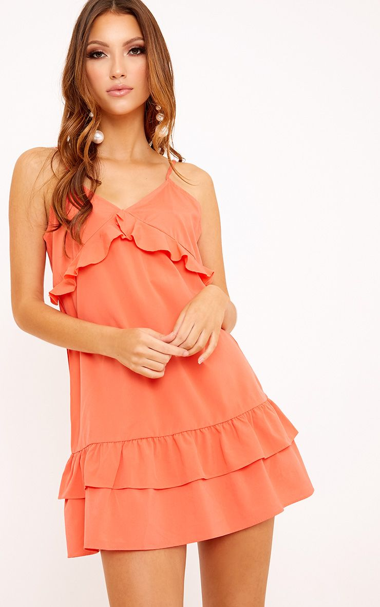 Vela Coral Frill Detail Layered Hem Shift Dress