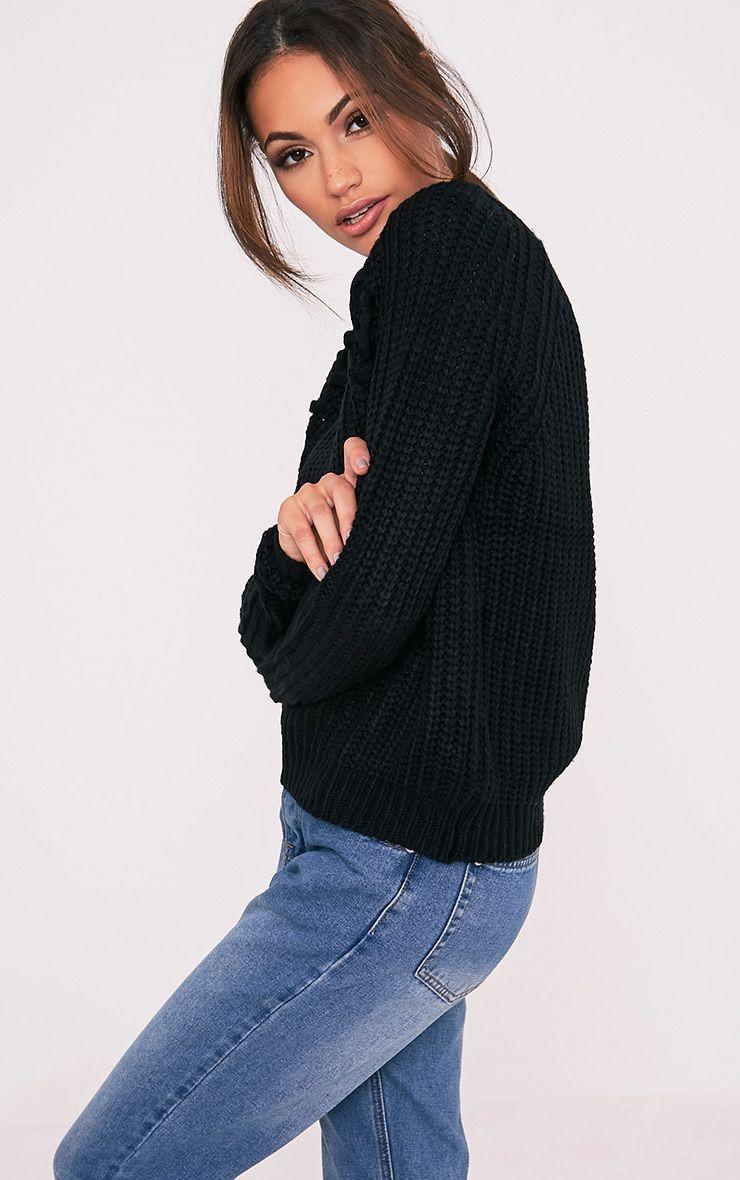 Iolanne pull tricoté épais à lacets noir 4
