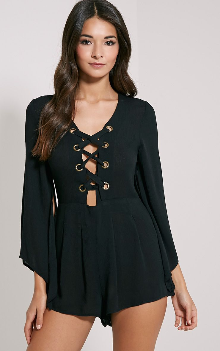 Clemence Black Lace Up Detail Bell Sleeve Playsuit 1
