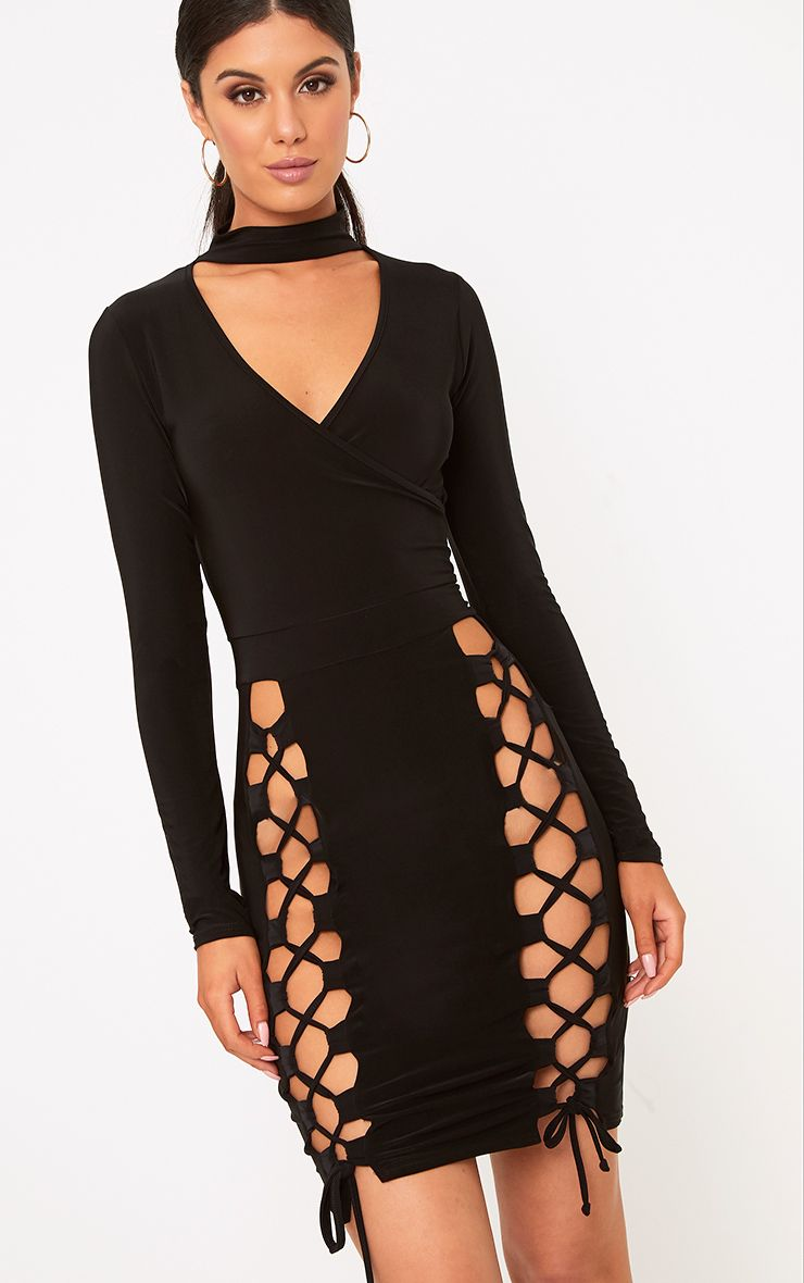 Elaina Black Thigh Lace Up Bodycon Dress
