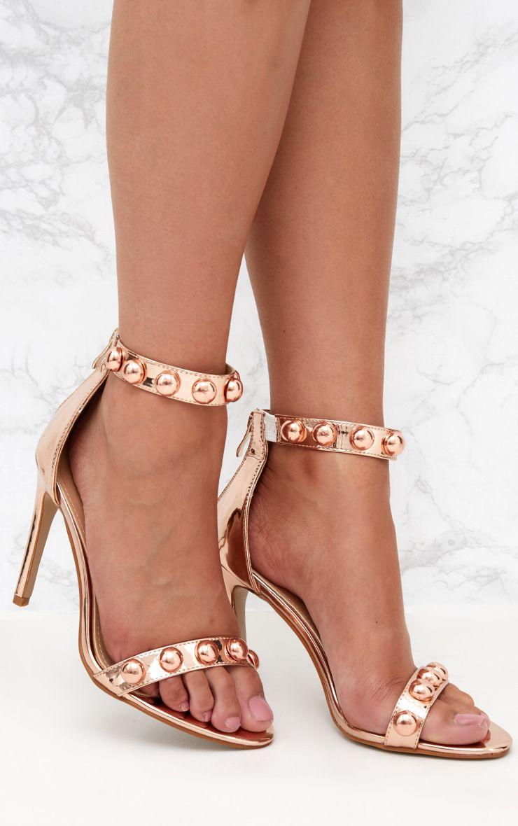 Rose Gold PU Round Studded Heeled Sandals