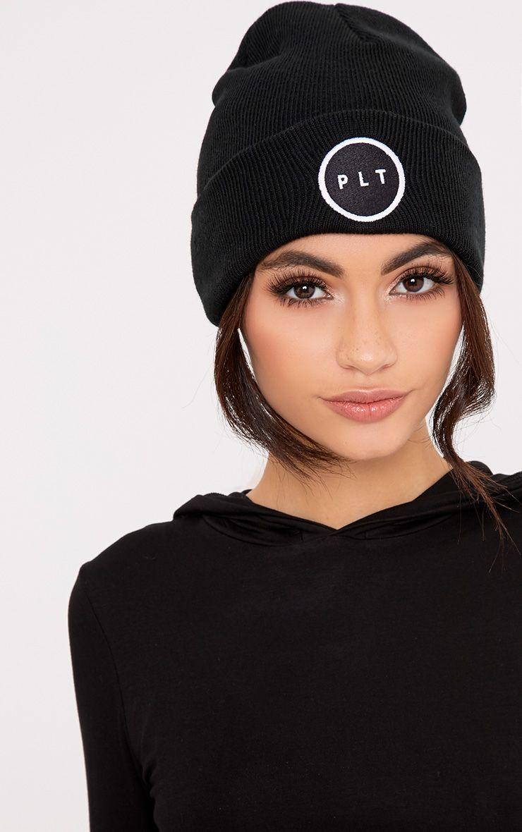 PrettyLittleThing Black Logo Beanie Hat