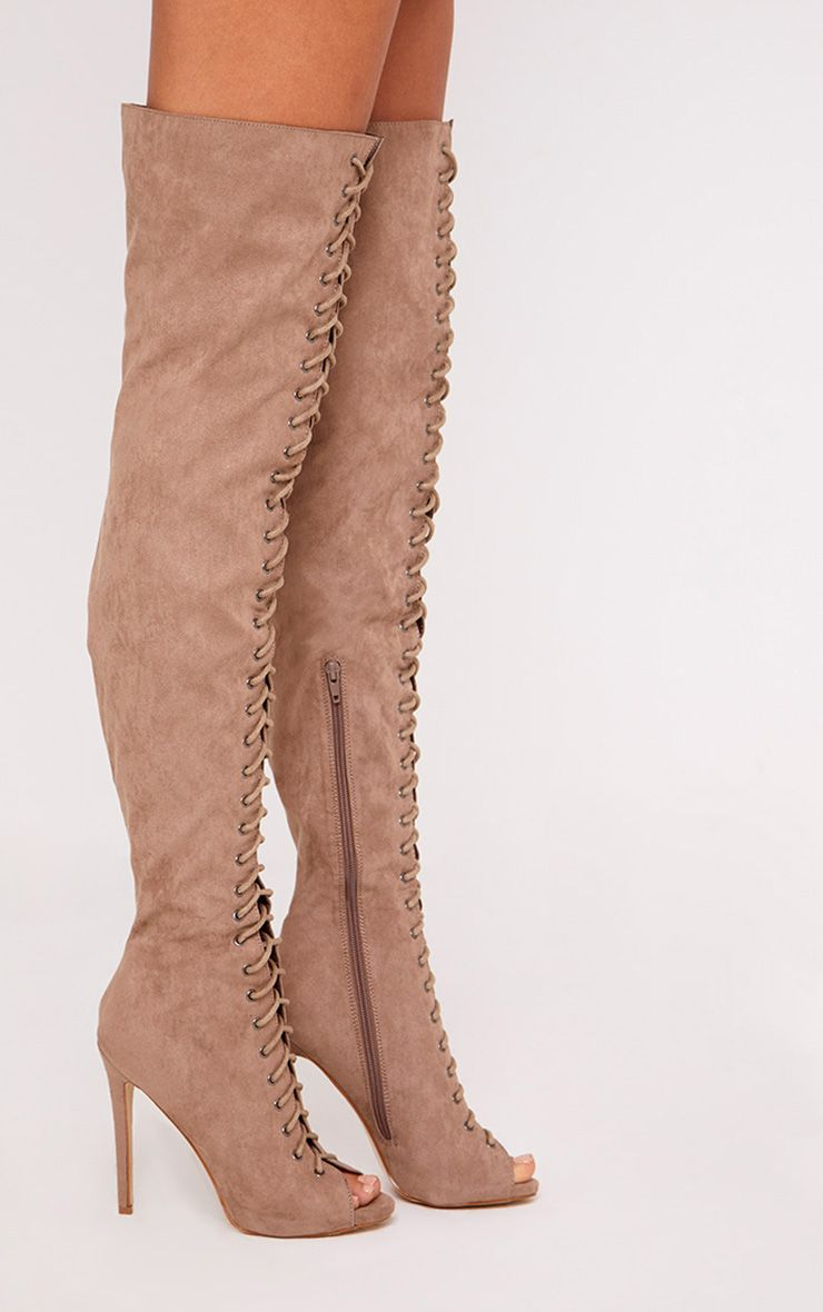 Malinda Mocha Lace Up Peep Toe Thigh High Boots 4