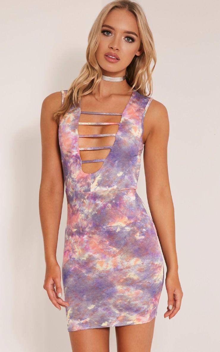 Daniella Purple Strap Front Tie Dye Bodycon Dress 1