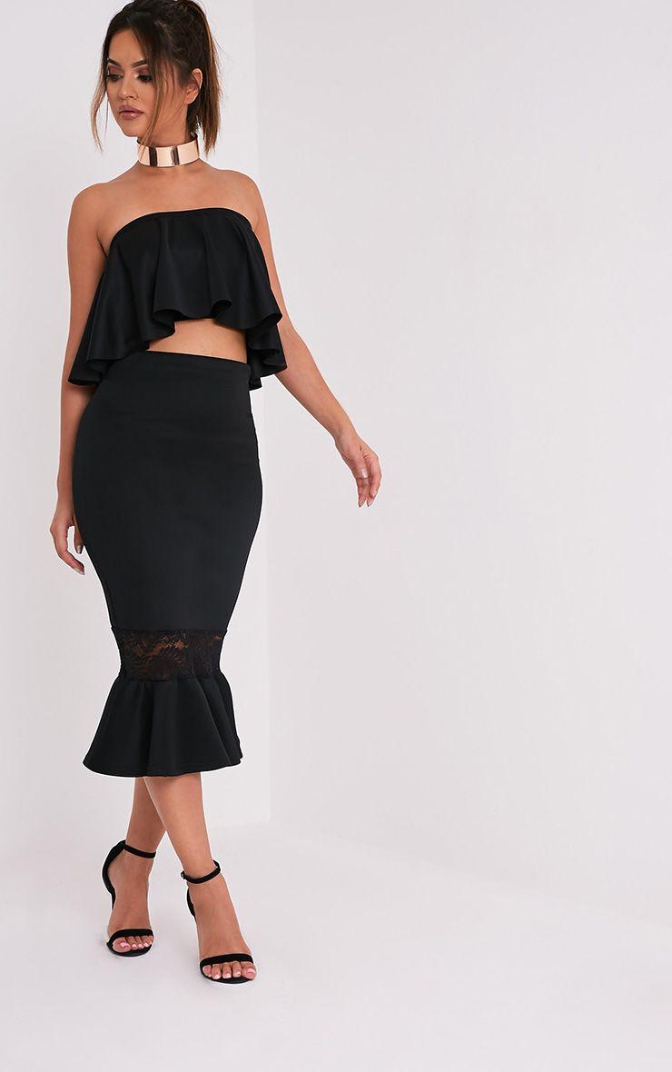 Zeline Black Lace Insert Fishtail Midi Skirt 1