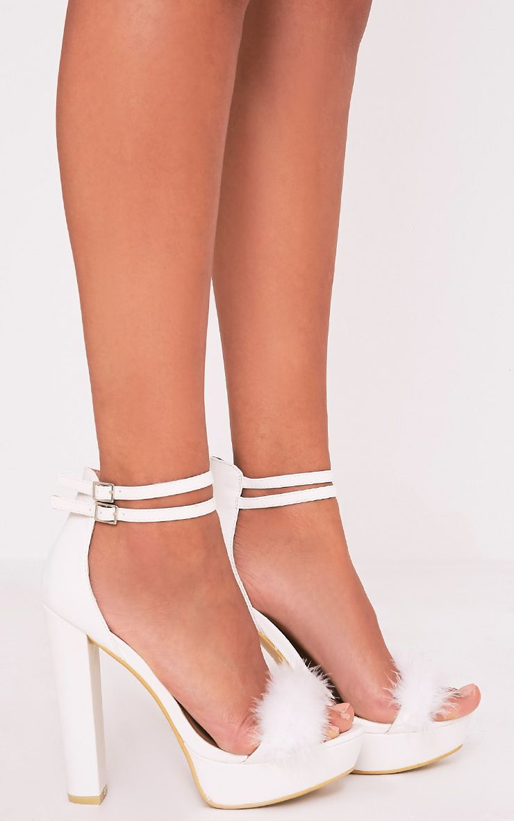 Shea White Fluffy PU Platform Sandals