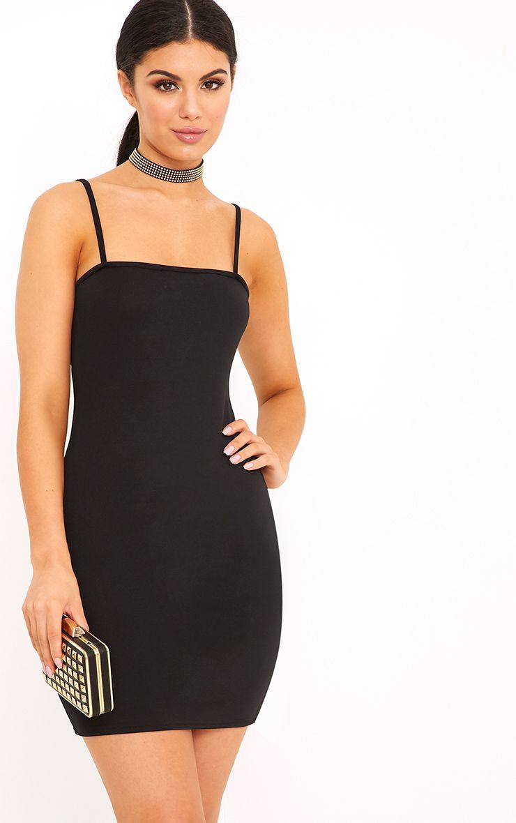 Desri robe moulante noire à col droit