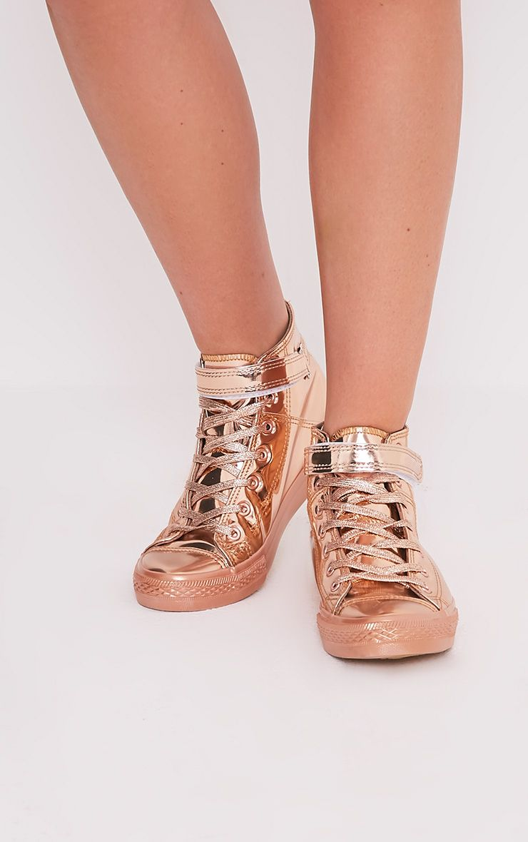 Oona Rose Gold Metallic High Top Sneakers