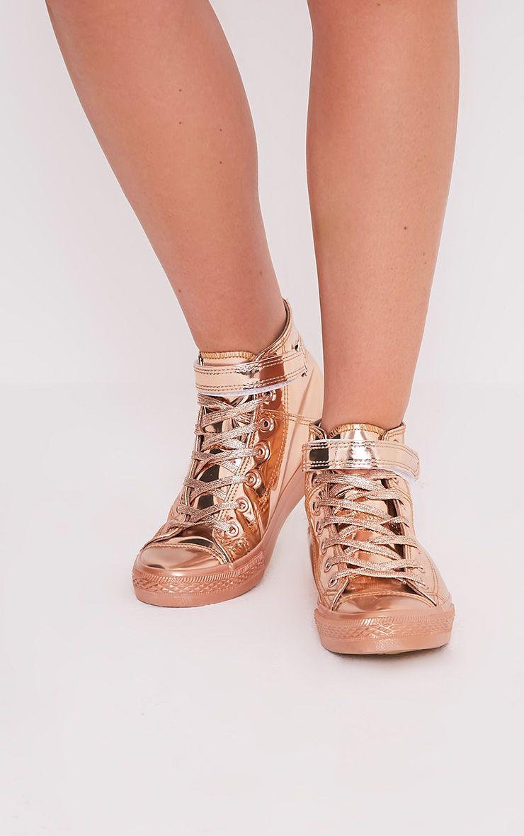 Oona Rose Gold Metallic High Top Sneakers 1