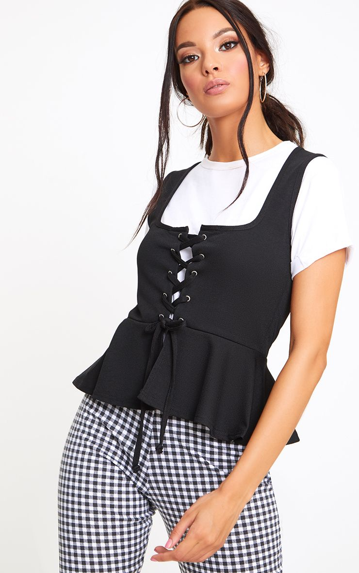 Black Lace Up Corset Frill Top