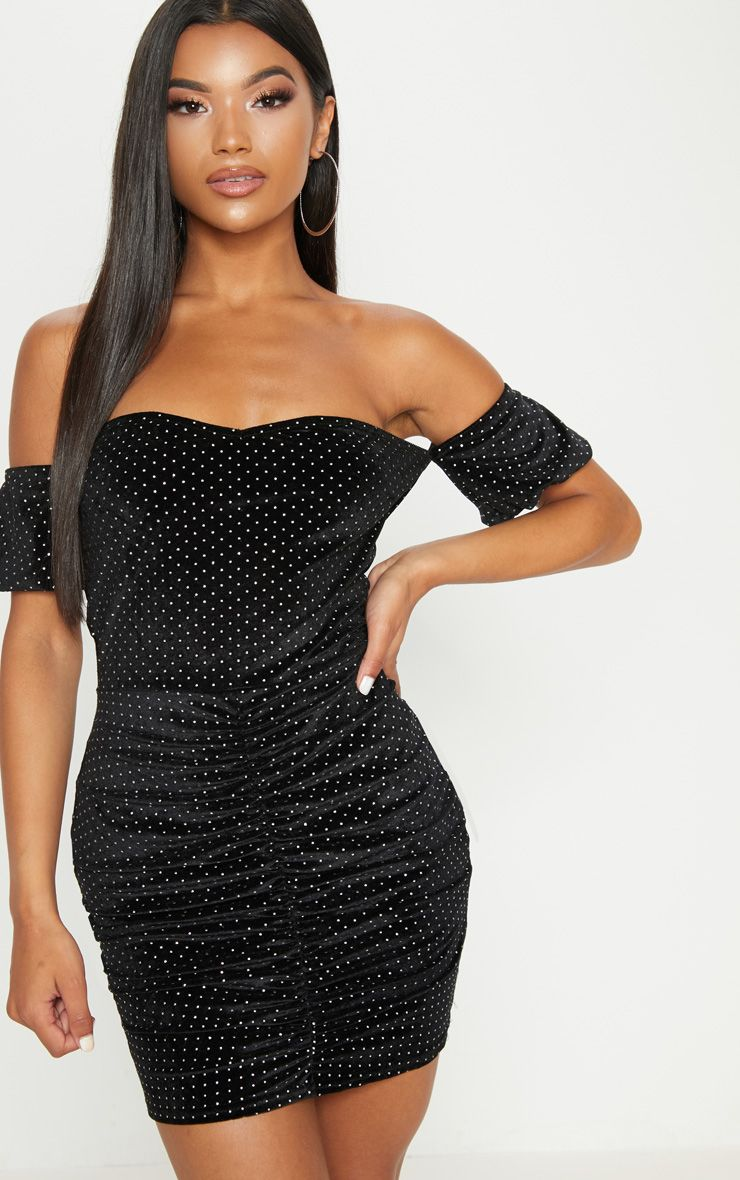 Black Studded Bardot Ruched Bodycon Dress