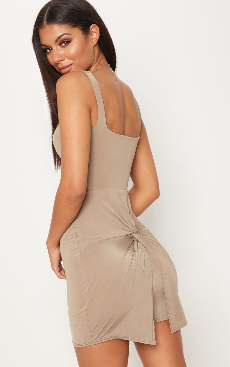 Taupe Slinky Cut Out Ruched Back Bodycon Dress