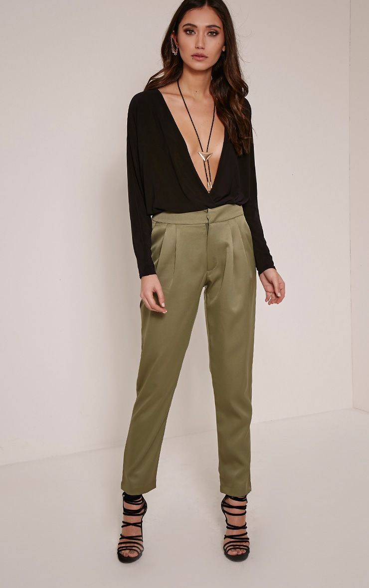 Floss Khaki High Waisted Tapered Trousers Green