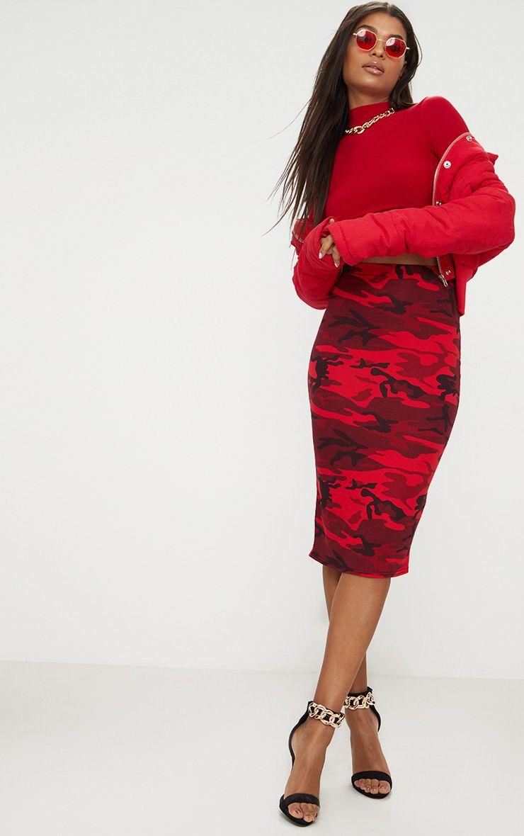Red Camo Print Mini Skirt