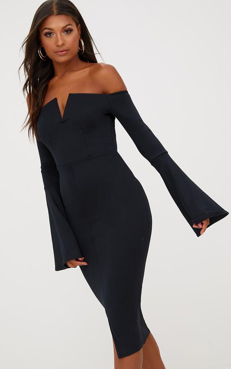 Midi robe noire Bardot manches évasées