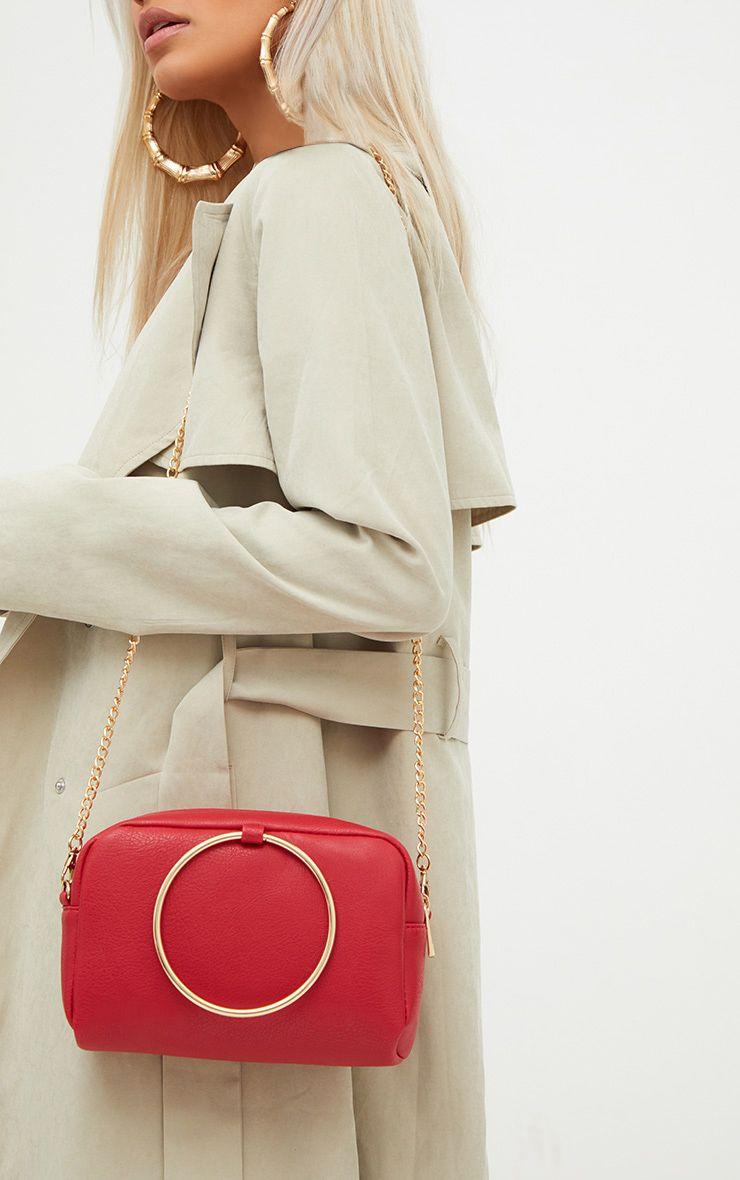 Red Metal Ring Handle Shoulder Bag 1